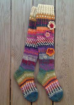 Wool socks Hand knit Knee high socks  socks Crochet by KnotByKnott