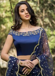 Royal Blue and Gold Embroidered Off Shoulder Lehenga