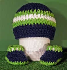 NCAA, NFL, Seattle Seahawks colors navy, lime and white handmade crochet baby hat and booties on Etsy, $10.00