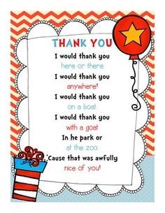 Use this adorable Dr. Seuss-themed thank you note for your volunteers and guest readers for Read Across America Week!Please consider leaving feedback!