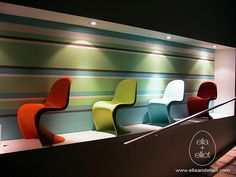 Panton chairs in a row
