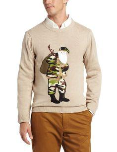 Alex Stevens Men's Camo Santa Ugly Christmas Sweater, Sandstone, Medium