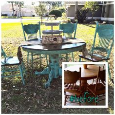 Love this before and after I completed for a client using Junk Gypsy's chalk paint color wanderlust. It's a beautiful shade of turquoise! One of my all time favorite projects. Check out my Facebook page Facebook.com/shoptherusticapple for more inspiration. Table makeover