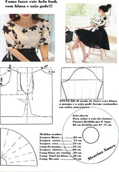 Amazing Sewing Patterns Clone Your Clothes Ideas. Enchanting Sewing Patterns Clone Your Clothes Ideas. Fashion Sewing, Diy Fashion, Ideias Fashion, Fashion Outfits, Dress Sewing Patterns, Clothing Patterns, Costura Fashion, Sewing Blouses, Make Your Own Clothes