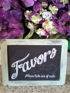 Wedding favors chalkboard art