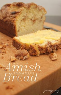 Amish Cinnamon Bread--VERDICT: I made this today with stuff I already had around the house and it was a huge success. Really moist and delicious. Try making it gf Just Desserts, Delicious Desserts, Dessert Recipes, Yummy Food, Naan, Bread Recipes, Baking Recipes, Amish Bread, Gula