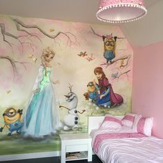 Stunning Girl's Bedroom with Disney Themed Ideas Girl Bedroom Walls, Girl Room, Baby Wall Art, Art Wall Kids, Playroom Shelves, Wall Shelves, Disney Mural, Disney Princess Room, Wall Art Wallpaper