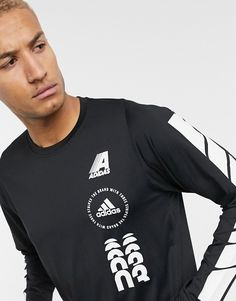 adidas Training long sleeve t-shirt with logo in black at ASOS. Mens Casual T Shirts, Mens Tops, Fitness Outfits, Pop Art, Latest Trends, Asos, Train, Adidas, Hoodies