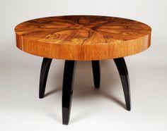 Halabala Jindřich, Czechoslovakia, dining table from Tulipán set, walnut, 1930 - 1939, restored