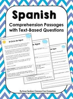 Spanish Reading Comprehension passages with multiple choice and written response questions.  ($)