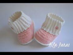 "Вяжем детские пинетки крючком ""Зимняя сказка"". Knit baby booties crochet ""Winter's Tale"" - YouTube"