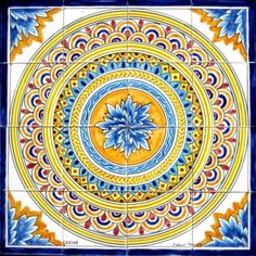 DECORATIVE-PERSIAN-DESIGN-TILES-MOSAIC-PANEL-HAND-PAINTED-WALL-ART-24in-x-24in