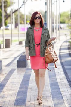Coral Dress and Army Jacket, a recipe for success Stripes & Stilettos