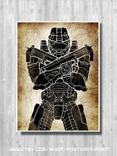 HALO Master Chief poster set duo inspired by by PosterInvasion