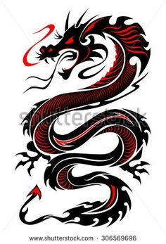 Flaming tribal dragon tattoo vector illustration in black and red . - Flaming tribal dragon tattoo vector illustration in black and red colors # dragon tattoo - Dragon Tattoo Vector, Red Dragon Tattoo, Tribal Dragon Tattoos, Celtic Dragon Tattoos, Dragon Tattoos For Men, Chinese Dragon Tattoos, Dragon Tattoo Designs, Body Art Tattoos, New Tattoos