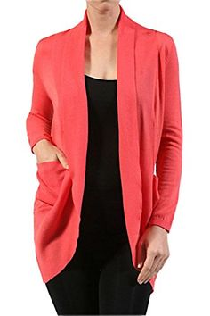 Basic ThreeQuarterSleeve Open Cocoon Cardigan Sweater W Pockets L Coral *** Click image to review more details.