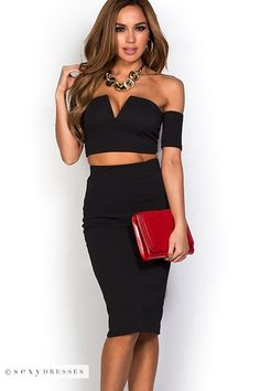 """Marie"" Black Off Shoulder Crop Top and Skirt Two Piece Dress Set"