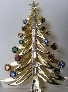 Eisenberg Signed Christmas Tree Brooch Swarovski Rhinestones Retired 65034 | eBay
