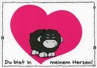 Olaf das Grummelschaf und Poppy Postkarte mit lustigen Sprüchen - Du bist in meinem Herzen!