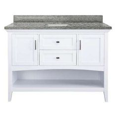Brattleby 49 in. W x 22 in. D Vanity in White with Granite Vanity Top in Santa Cecilia with White Basin