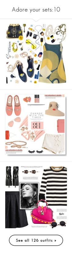 """""""Adore your sets:10"""" by rainie-minnie ❤ liked on Polyvore featuring idoadore, rainieminnie, Nikos Koulis, ANISE, Bobbi Brown Cosmetics, Barbara Heinrich, Chanel, Marc Jacobs, Gucci and ZeroUV"""