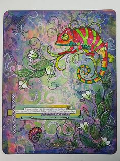 This is in my geli printed backgrounds journal. Ink Stamps, Journal Pages, Printmaking, Art Drawings, Backdrops, Card Making, Paper Crafts, Chameleons, Plate