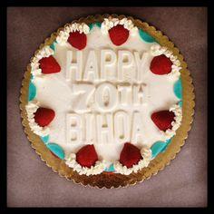 Strawberry turquoise vanilla birthday cake