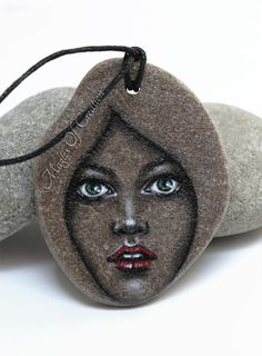Original portrait painting on stone as unique art jewellery, painted stone pendant by Magics of Creation