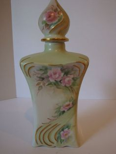 ANTIQUE LIMOGES FLORAL PERFUME BOTTLE