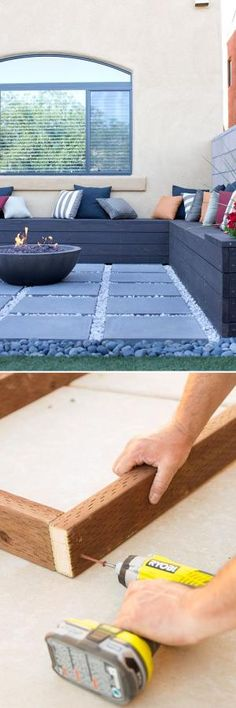 This DIY built-in patio bench has storage space for pillows, propane tanks and other outdoor items. It even includes flower planters at both ends. Follow this step-by-step tutorial to build a similar outdoor bench custom-made for your patio. by jimmie