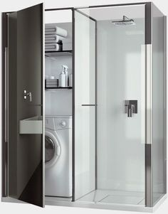 Compact Laundry / Shower Cabin Combo for Small Spaces by Vismaravetro. You can find it here ► http://www.vismaravetro.it/Prodotti/shower-enclosures-niche-installation_md1_16_en.html