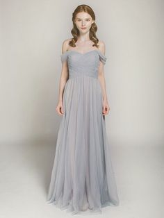 gorgeous gray full length off-the-shoulder tulle bridesmaid gown swbd002
