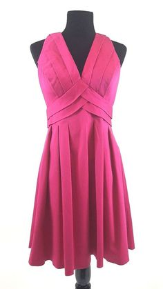 Calvin Klein Raspberry Pink Sleeveless Pleated Sheath Dress Size 8 #CalvinKlein #SheathDress