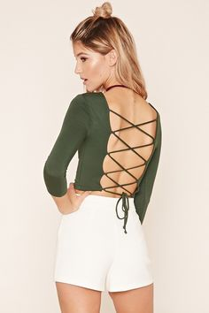 FOREVER 21 Lace-Up Back Crop Top