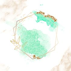 Gold hexagon frame on green watercolor background vector premium image by Adj Logo Background, Watercolor Background, Background Patterns, Watercolor Wallpaper, Cute Wallpapers, Wallpaper Backgrounds, Iphone Wallpaper, Watercolor Logo, Green Watercolor