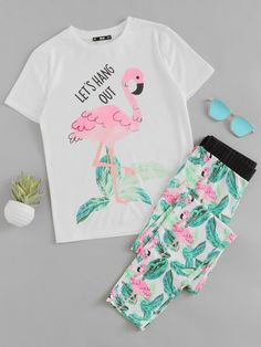 #ROMWE - #ROMWE Flamingo And Jungle Leaf Print Top And Pants Pajama Set - AdoreWe.com