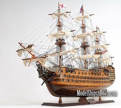 "H.M.S. Victory, Adm. Horatio Nelson's flagship at the Battle of Trafalgar in 1805, is now available as a museum-quality, FULLY ASSEMBLED model.    HMS Victory 30"", $449.95"