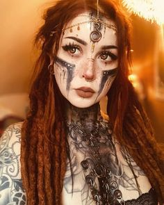Witch Makeup, Halloween Face Makeup, Viking Makeup, Warrior Makeup, Tribal Makeup, Tribal Face, Warrior Girl, Festival Makeup, Character Portraits