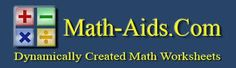 Free Math Worksheet Website - Math-Aids.com  The website contains over 91 different math topics with over 1,127 unique worksheets. These math worksheets are randomly created by their math worksheet generators, so you have an endless supply of quality math worksheets at your disposal. These math worksheets are a great resource for K-12th Grade. The worksheets may be customized to fit your needs and may be printed immediately or saved for later use.  http://www.math-aids.com/