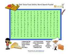 Food safety word search puzzle for children. This word search has fifteen words to find and provides a more challenging puzzle for elementary school children.