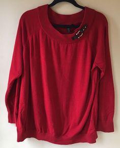 Lauren Ralph Lauren Sweater Size 3X Red Cotton Boatneck Strap Buckle #LaurenRalphLauren #BoatNeck