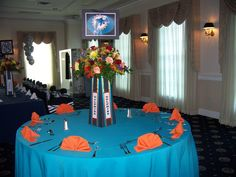 Dolphins centerpiece sports theme Bar Mitzvah by Oma's Garden flower shop, Coral Springs, Fl