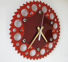 Upcycled Motorcycle Sprocket Clock Kandy Orange