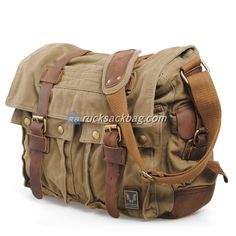 Men's Military Canvas Leather Satchel School Laptop Shoulder Messenger Bag Features Condition: New Material: Canvas with Leather Colour: Green,Army Green,Army Grey,Tan Dimensions: x x x x CM. Bags Online Shopping, Online Bags, Leather Camera Bag, Leather Satchel, Mode Vintage, Vintage Men, Vintage Leather Bags, Canvas Leather, Cow Leather