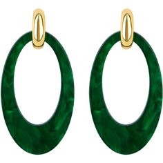 Henri Bendel Valet Opulent Oval Drop Earring ($128) ❤ liked on Polyvore featuring jewelry, earrings, dark green, dark green earrings, henri bendel jewelry, drop hoop earrings, steel jewelry and steel hoop earrings