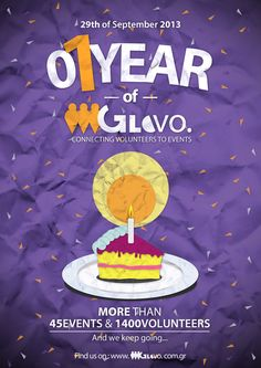 Poster created for GloVo's 1 year Party Celebration October 2014, Love Art, Birthday Cake, 1 Year, Party, Artwork, Desserts, Celebration, Food