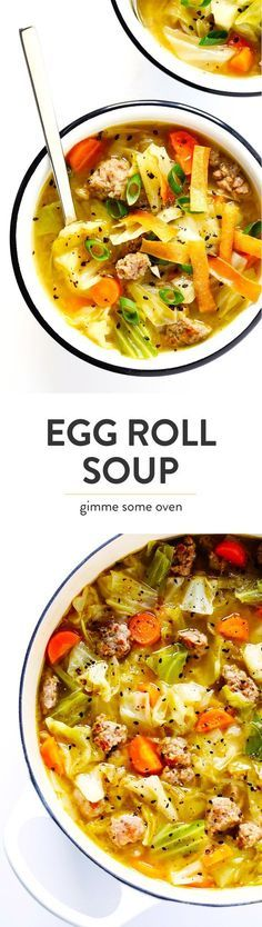 This Egg Roll Soup recipe is SO tasty!! It's basically an Asian cabbage soup, simmered with zesty sausage, carrots, sesame and ginger, and topped with crispy wonton strips if desired. It's the perfect easy dinner recipe. | Gimme Some Oven #glutenfree #soup #recipe #gf