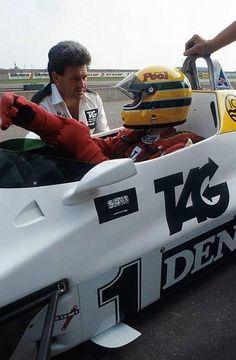 Ayrton Senna at Williams test.  Donington 1983.