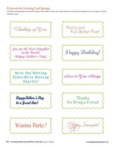 Creating Together Journal Easy Projects Greeting Card Sayings