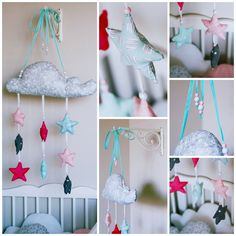 Babymobile selbstgenäht, Wolke mit Sternen, selfmade, DIY Halterung: https://www.amazon.com/gp/product/B001D1X1HO/ref=oh_aui_detailpage_o05_s00?ie=UTF8&psc=1